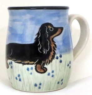 Dachsund Long Hair Blk & Tan -Deluxe Mug