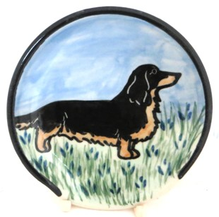 Dachsund Long Hair Blk & Tan -Deluxe Spoon Rest