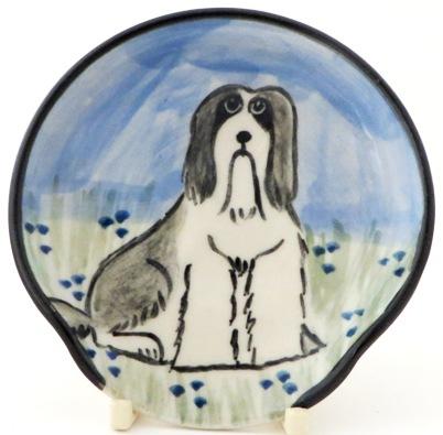 Bearded Collie Gray and White -Deluxe Spoon Rest