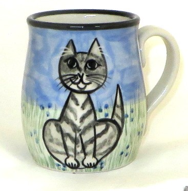 Cat Sitting Grey Tabby -Deluxe Mug